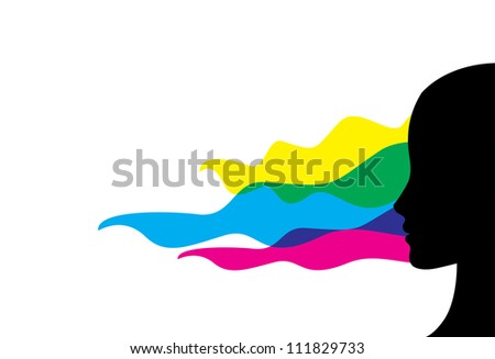 girl profile in cmyk colours