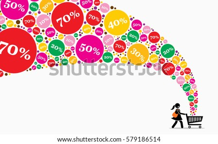 Girl pushing shopping cart on a sales day. Vector artwork depicts discount, sales, promotion, offers, and deals.