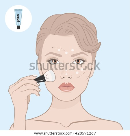 Shutterstock Girl put the primer on her face. Scheme of correctly applying the primer on the face. Directional arrows. Female face, bare shoulders and hand with brush for make-up. Woman face and primer tube.