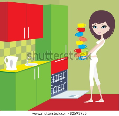 Girl puts cups in the dishwasher. vector, color full, no gradient