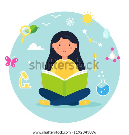 Girl Reading a Book. Science, Biology, Stem and Steam Approach Concept Illustration. Vector Design.