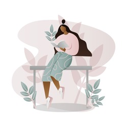 Girl reading a book, studying, preparing for exam, young student woman reading a textbook, magazine, book lover trendy modern flat color abstract minimal character cartoon illustration
