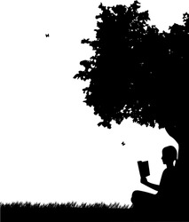 Girl reading a book under the tree in park or garden silhouette