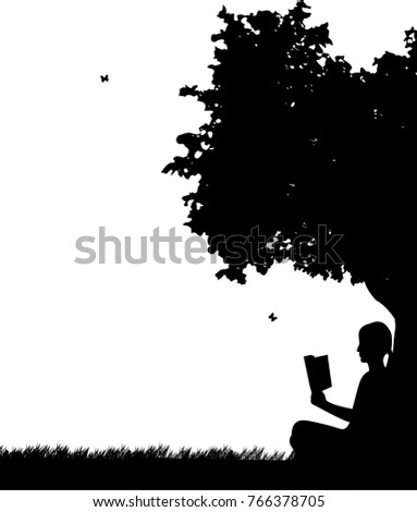 girl reading a book under the