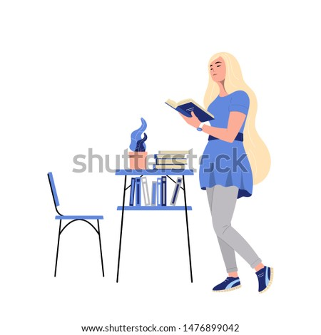 Girl reading a book. Vector illustration where a person reads books on a white background.Lover of literature. Library.Flat design style.EPS-10.