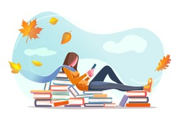 Girl reading, sitting on stacks of books in fall leaves background. Concept design. Beautiful autumn nature with Flat young woman. Modern card for web design with isolated white background