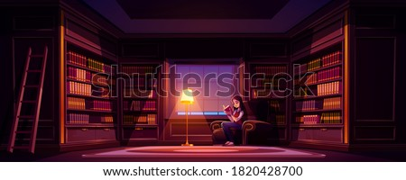 Girl reads book in old library at night. Vector cartoon illustration of luxury home library interior with reading woman in chair, wooden bookcases, ladder and lamp