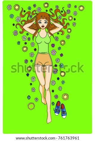 girl relaxes on a flowering