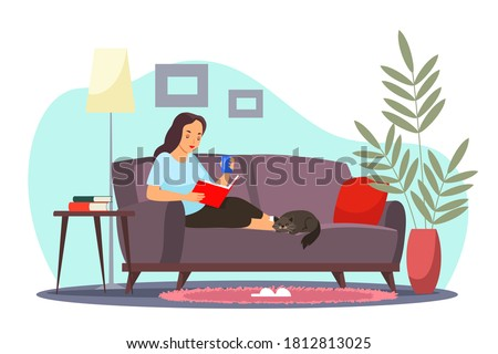 girl relaxing at home reading