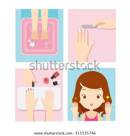 girl relaxing in nail salon