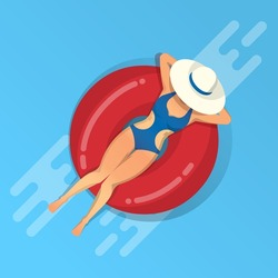girl relaxing on inflatable ring on water, vector illustration