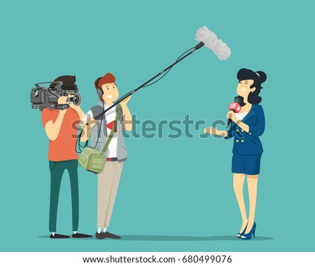 GIrl reporter, cameraman and sound engineer. Vector illustration.
