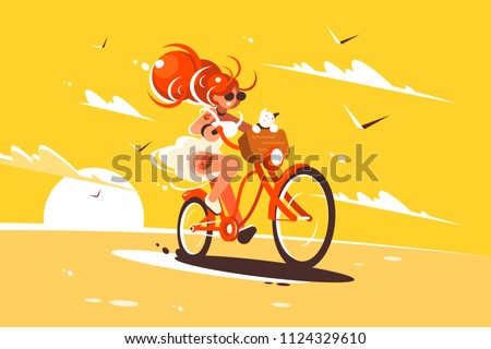 Girl ride on bicycle with cat in basket. Vector illustration