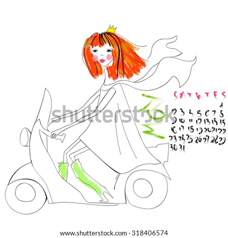 girl rides on a scooter may