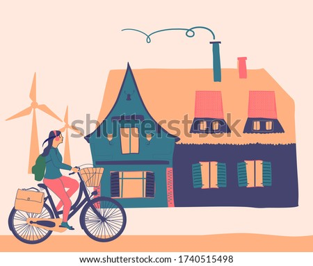 girl riding on bicycle near old