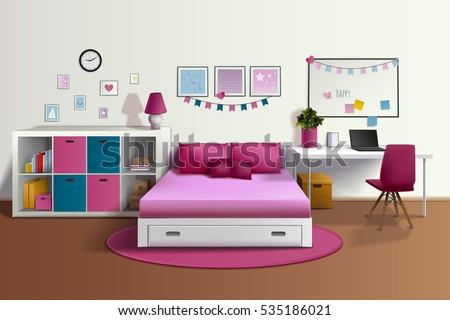 girl room realistic interior