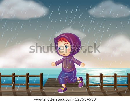 girl running in rain at the