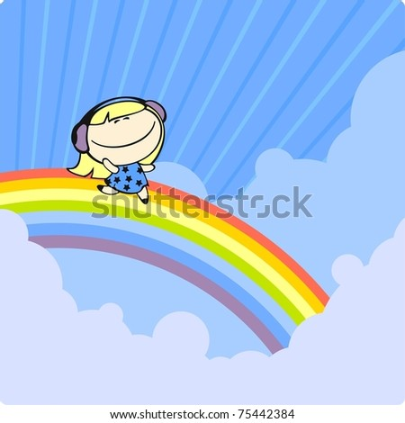 Girl running on a rainbow