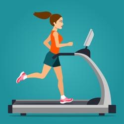 Girl running on treadmill isolated. Vector flat style  illustration.