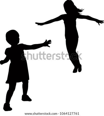 girl running silhouette vector