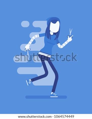 girl running with scissors