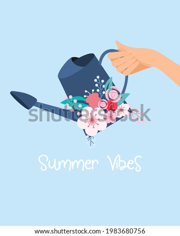 Girl's holding watering can with pink flower bouquet in Summer season. Foto stock ©