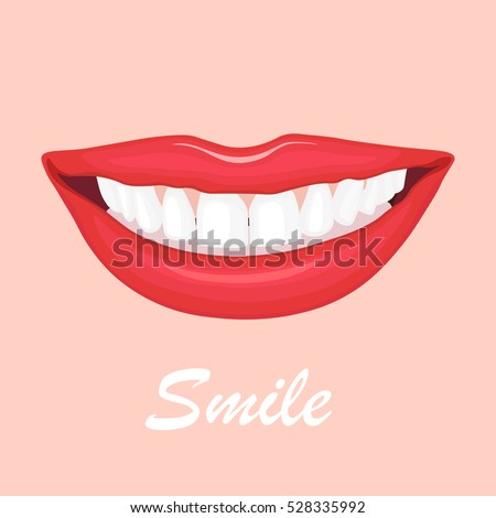 Girl's lips with smile and teeth close up. Mouth isolated on pink background. Medical dental concept. Vector illustration