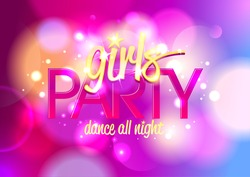 Girl`s party invitation or banner on a bokeh background. Eps10.