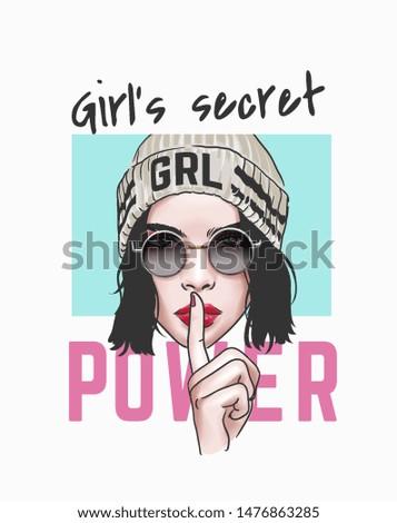 girl's secret power slogan with girl in sunglasses illustration