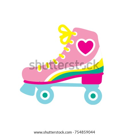 Girl's style roller skate. Vector illustration