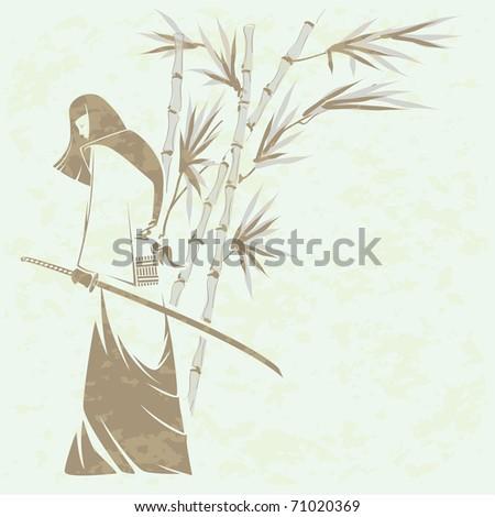 Girl samurai sword under the stalks of bamboo (Grunge removed)