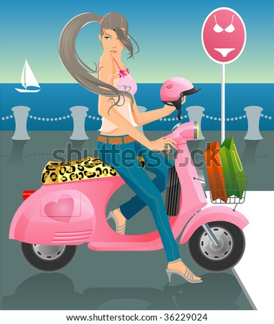 girl & scooter - stock vector