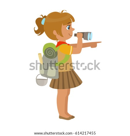 girl scout carrying a backpack