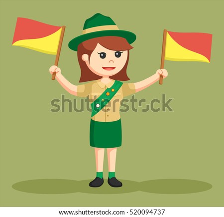 girl scout with semapore flag