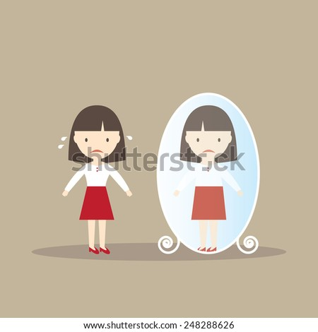girl sees other self in mirror
