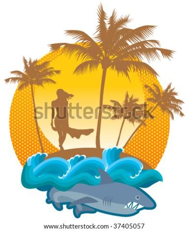 Girl & Shark. Vector illustration.
