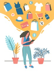Girl shopping online flat vector illustration. Young woman buying, ordering clothes in internet store. Modern shopper, fashion boutique customer cartoon character. Consumerism, e shopping concept.