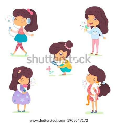 Girl showing five senses set. Sense of sight, touch, hear, smell, taste vector illustration. Small happy child in nature and exploring wonders of spring. Joyful education at childhood. Foto d'archivio ©