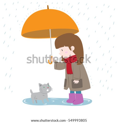 Girl showing kindness protecting a cat from the rain cute vector illustration