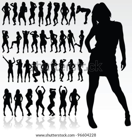 girl silhouette in black color art vector illustration