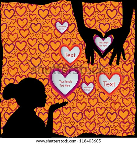 Girl silhouette with hearts