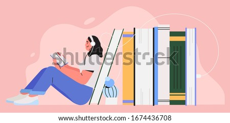 Girl sitting near pile of books with headphones and listen them online. Concept of online reading or library, e-book, online education. World book reading day cute illustration for banner, flyer, ad.