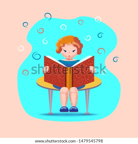 Girl sitting on a bench reading a book on the abstract background. Home schooling. The child reads. Vector illustration.
