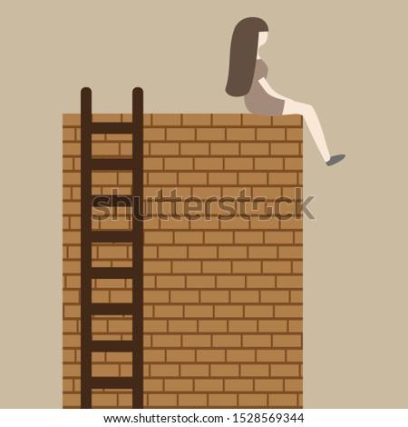 girl sitting on a brick wall