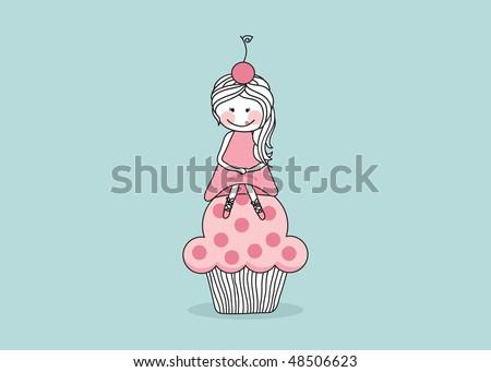 girl sitting on giant cupcake