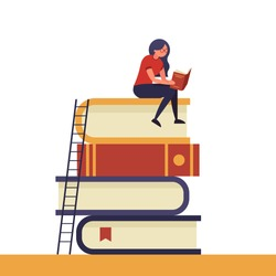 Girl sitting on pile of books with open book in her hands. Concept illustration of e-learning, distance studying and self education. Young woman student character in simple trendy flat style.