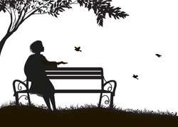 girl  sitting on the bench under the tree and feed sparrows, shadows, memories,  silhouette on white background