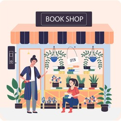 Girl sitting with books on background of bookstore. Businessman working in book shop with flowers