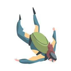 Girl Skydiver Enjoying Freefall, Woman Jumping with Parachute in Sky, Skydiving Extreme Sport Cartoon Style Vector Illustration