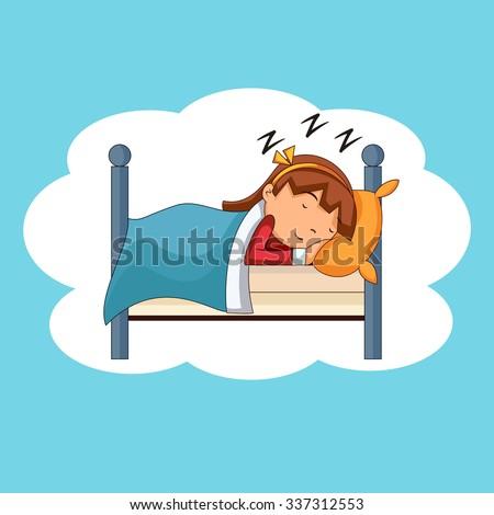 girl sleeping  bedtime  vector